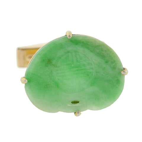 Vintage Chinese 14kt & Silver Gilt Carved Jade Cufflinks