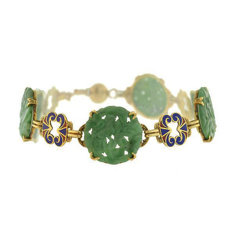 Art Deco Hand Carved Jade Enameled Link Bracelet