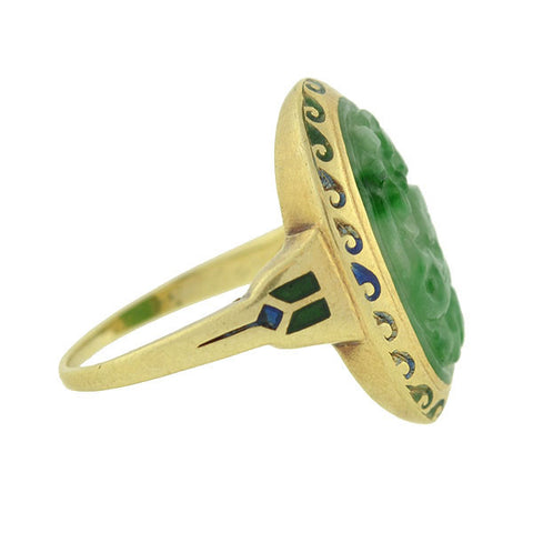 Art Deco 14kt Enamel & Carved Jade Ring