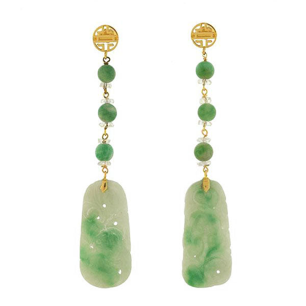 Art Deco 14kt Carved Jade Rock Crystal Earrings