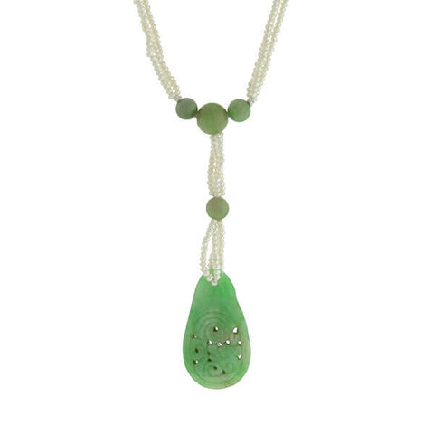 Art Deco Chinese 14kt Carved Jade & Seed Pearl Necklace
