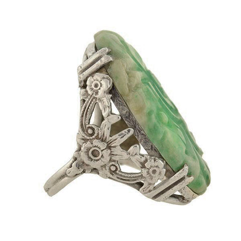 Late Art Deco Sterling Carved Floral Jade Ring