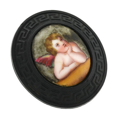 Victorian Carved Jet Painted Porcelain Cherub Pin
