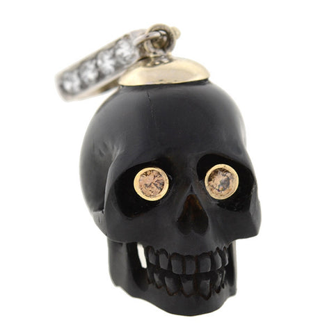 Estate 14kt Carved Jet Skull & Diamond Pendant