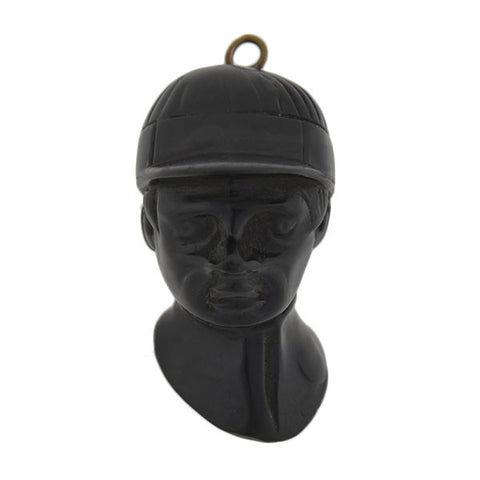 Victorian Hand Carved Jet Jockey Fob/Pendant