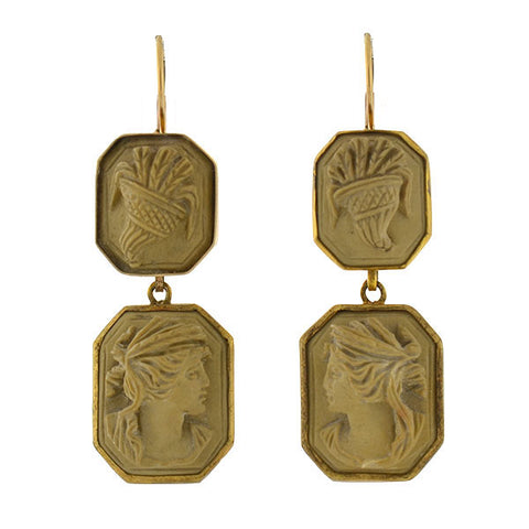 Victorian 14kt/Gold-Filled Carved Lava Cameo Earrings
