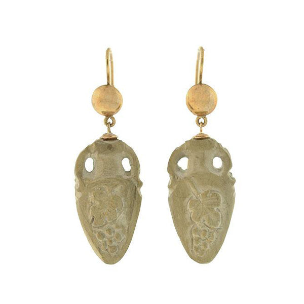 Victorian 14kt Hand Carved Lava Urn Earrings