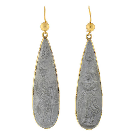 Victorian Large 14kt & Carved Lava Earrings