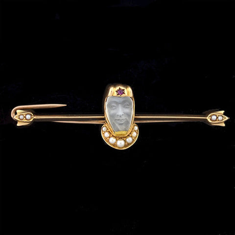 Victorian 14kt Carved Moonstone & Pearl Medieval Knight Pin