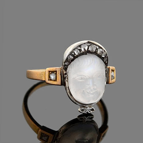 Victorian 18kt/Sterling Carved Moonstone Baby Cameo Ring