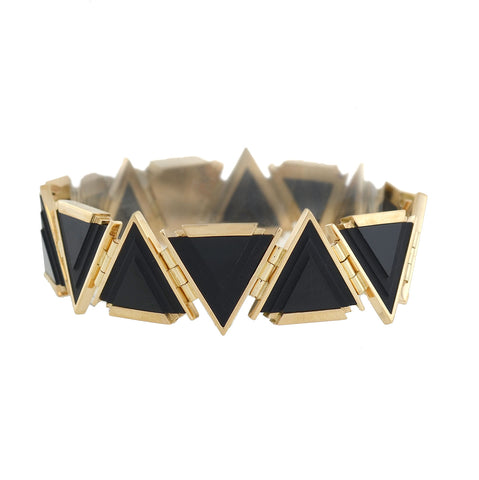 Late Art Deco 14kt Gold Triangular Onyx Link Bracelet