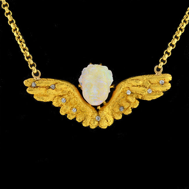 Victorian 18kt Carved Opal & Diamond Winged Cherub Necklace