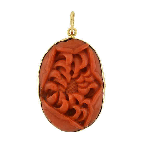 Art Deco 14kt Natural Carved Oxblood Coral Flower Pendant