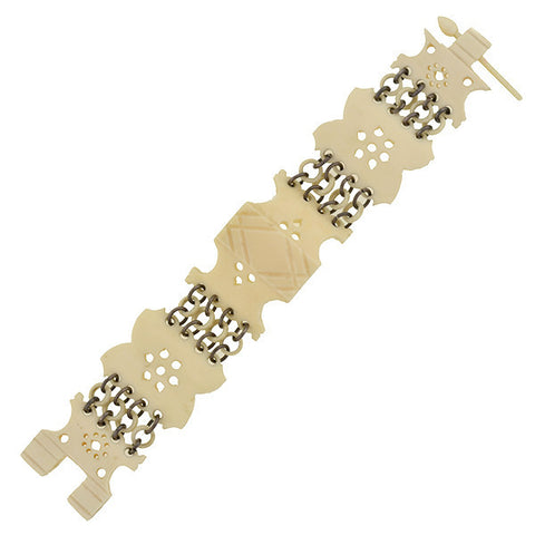 Victorian Sterling Hand Carved Ox Bone Link Bracelet