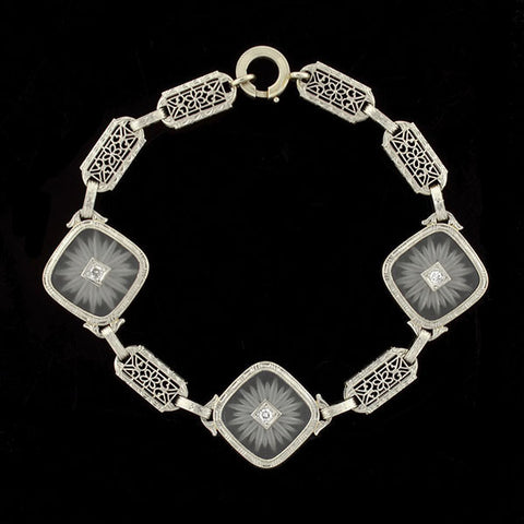 Art Deco 14kt Rock Quartz Crystal & Diamond Filigree Bracelet