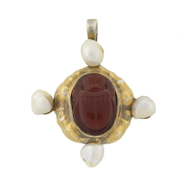 Victorian Sterling Gilt Natural Pearl & Carnelian Scarab Pendant