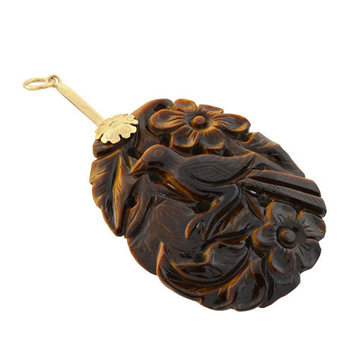 Vintage Chinese 14kt Carved Tiger's Eye Bird & Flower Pendant