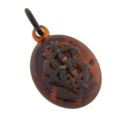 Victorian Hand-Carved Tortoise Shell Pendant