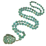 Art Deco Chinese Beaded Turquoise Necklace with Carved Pendant
