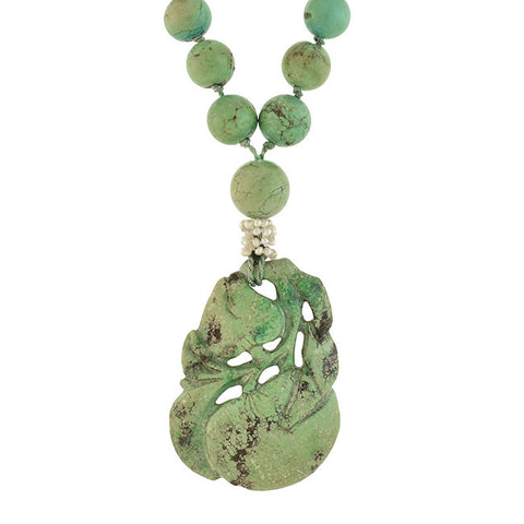 Art Deco Chinese Beaded Turquoise Seed Pearl Necklace with Carved Pendant