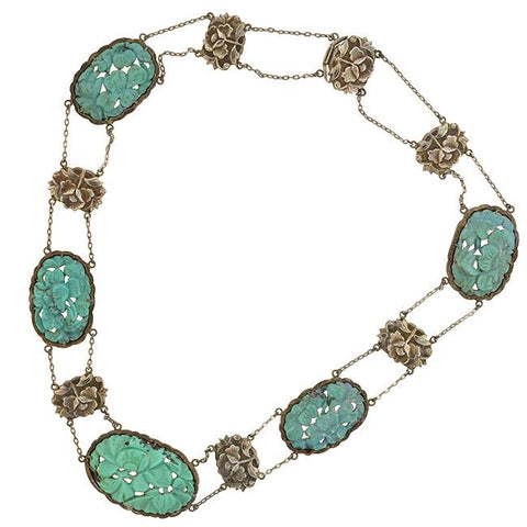 Late Art Deco Chinese Silver Carved Turquoise Link Necklace