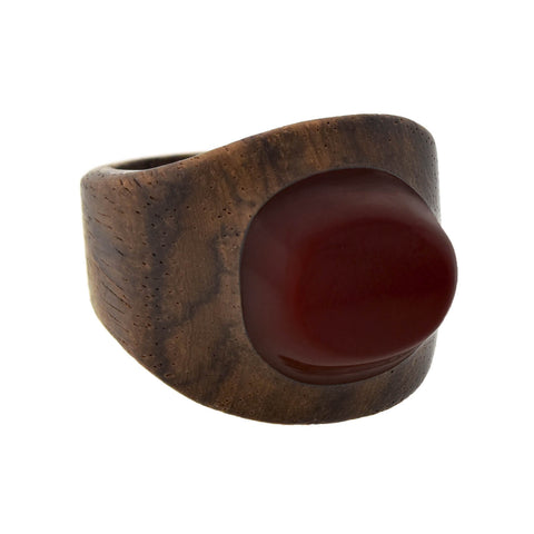Vintage Carved Wood + Red Bakelite Domed Ring