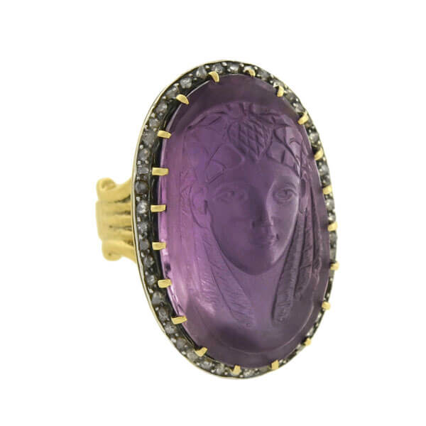 Art Nouveau Egyptian Revival Diamond & Amethyst Cameo Pharaoh Ring