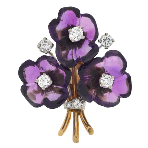 Vintage 18kt Carved Amethyst + Diamond Flower Bouquet Screw Back Stud Earrings