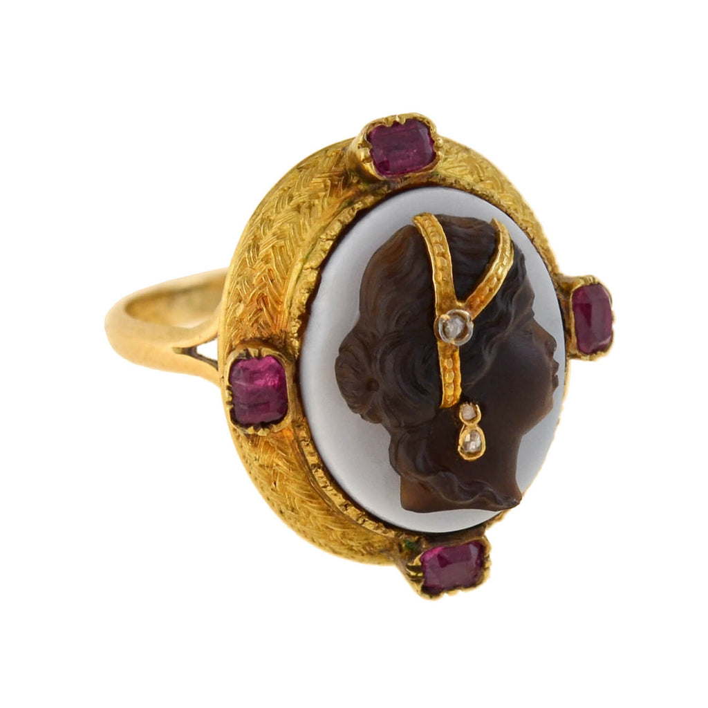 Victorian 14kt Banded Agate Cameo + Burmese Ruby, Diamond Ring