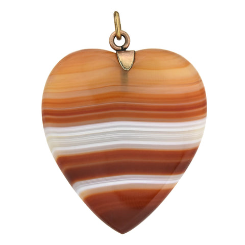Retro Gold-Filled Carved Banded Agate Heart Pendant + Earrings Set