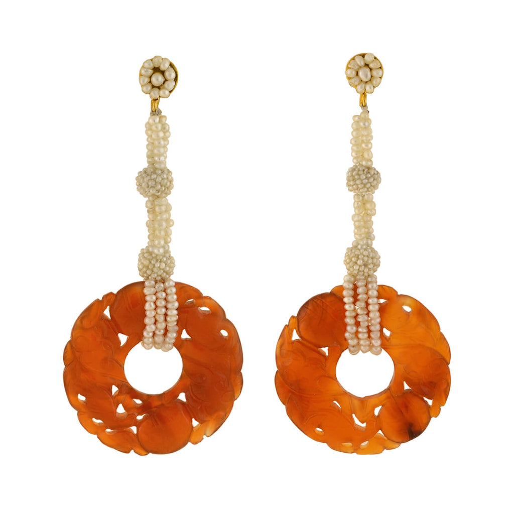 Art Deco 14kt Carved Carnelian + Seed Pearl Earrings