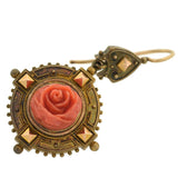 Victorian 18kt Carved Coral Rose Earring & Pin/Pendant Set