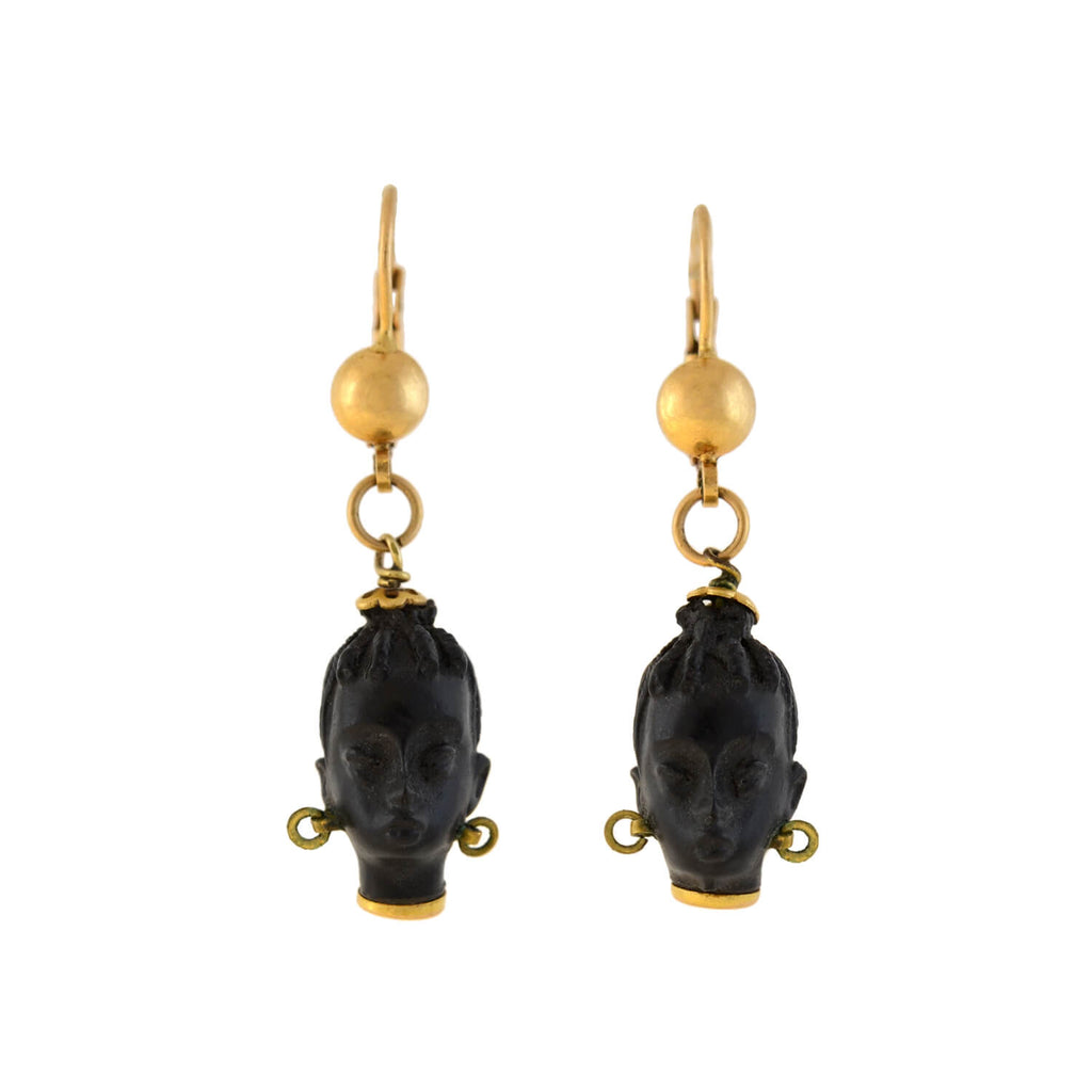 Art Deco 18kt Hand Carved Ebony Blackamoor Earrings