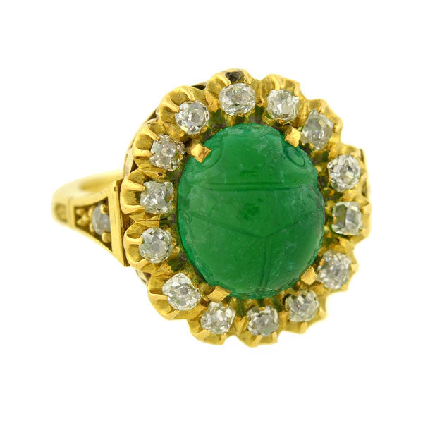 Victorian 18kt Gold Carved Scarab Emerald & Diamond Ring