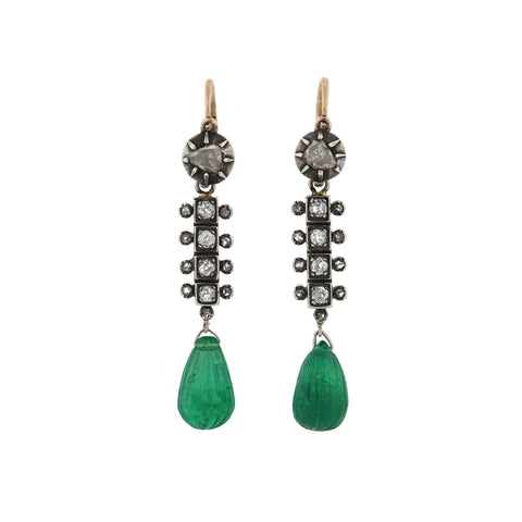 Victorian 18kt/Sterling Diamond + Carved Teardrop Emerald Earrings