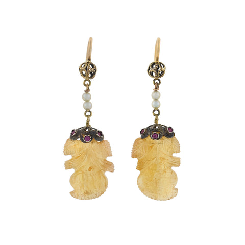 Art Deco 14kt Carved Golden Tourmaline, Rubies + Pearl Earrings