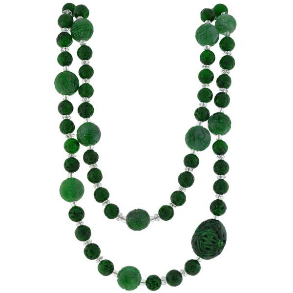 Art Deco Carved Jade & Rock Quartz Bead Necklace 40""