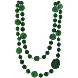 Art Deco Carved Jade & Rock Quartz Bead Necklace 40