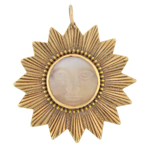 "Art Nouveau 14kt Carved Moonstone ""Man in the Moon"" Sunburst Pendant"