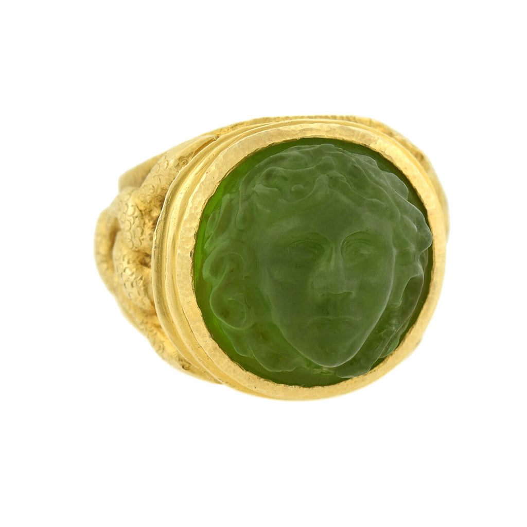 Art Nouveau 14kt Hand Carved Tourmaline Medusa Cameo Ring