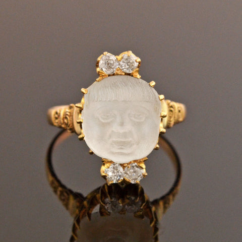 "Victorian 14kt Carved Moonstone ""Baby Face"" Cameo + Diamond Ring"