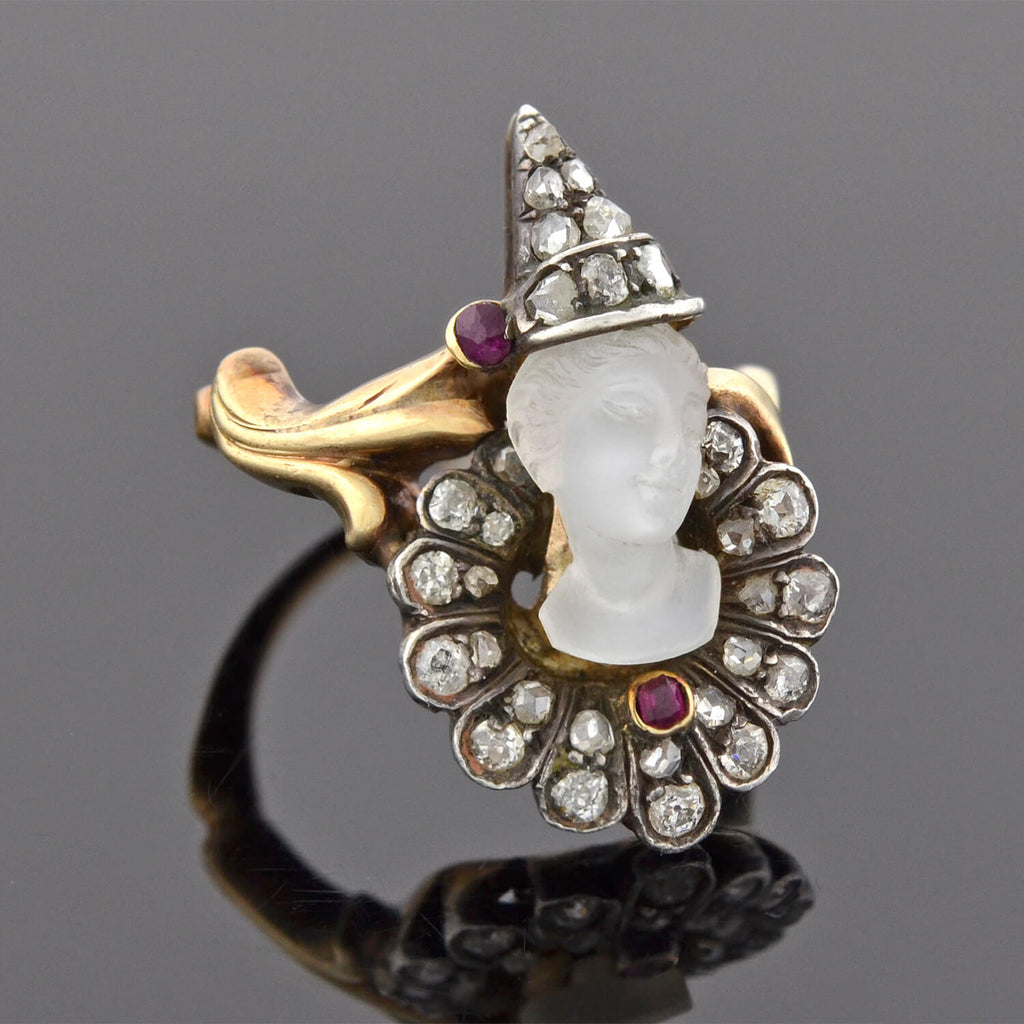 "Art Nouveau Rare 14kt/Sterling Diamond + Moonstone Cameo ""Pierrot Clown"" Ring"