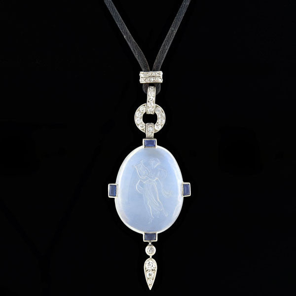 Art Deco Platinum Carved Moonstone, Diamond & Sapphire Necklace