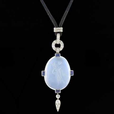 Art Deco 14kt Rock Quartz Crystal & Diamond Pendant
