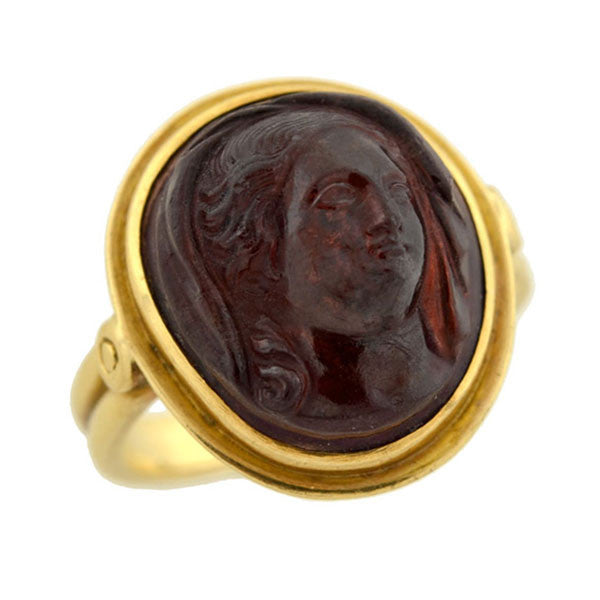 Art Nouveau 18kt Hand Carved Tourmaline Cameo Ring
