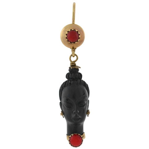 Vintage 10kt Faux Coral + Carved Wood Resin Blackamoor Earrings