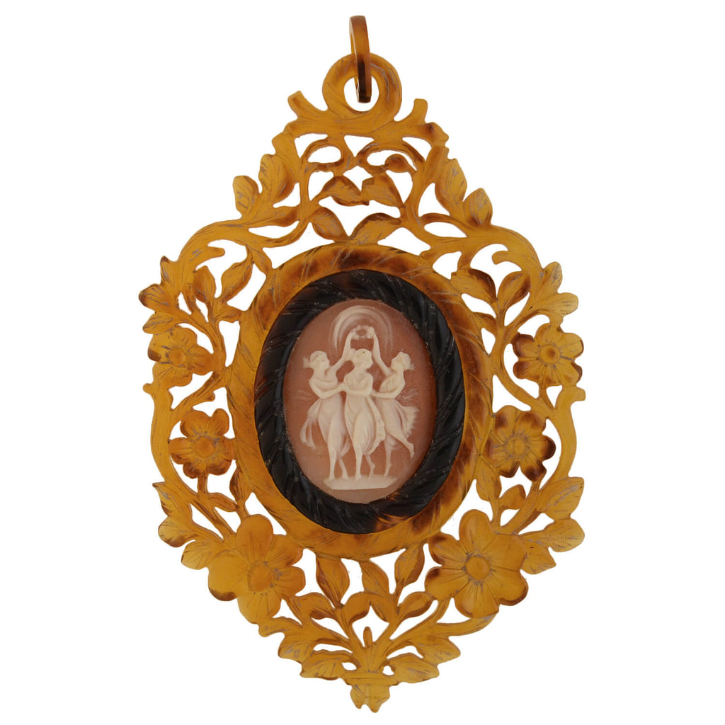 "Victorian Huge Carved Tortoise Shell ""Three Graces"" Cameo Pendant"