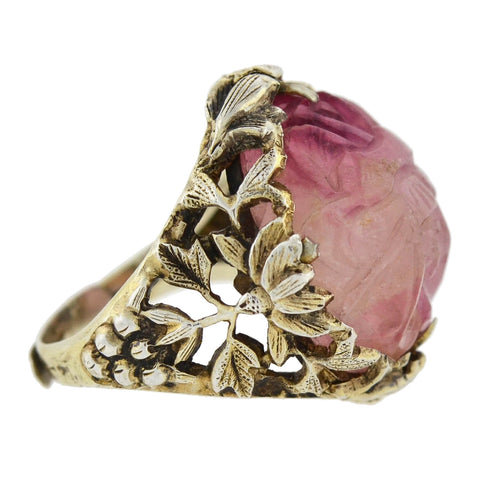 Arts & Crafts Sterling Gilt Carved Tourmaline Floral Filigree Ring