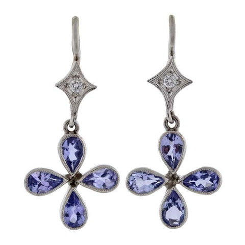 CATHY WATERMAN Platinum Tanzanite & Diamond Earrings