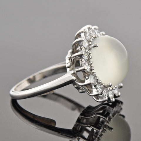 Vintage 14kt Cat's Eye Moonstone + Diamond Cluster Ring